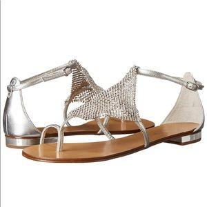 Lola Cruz Silver Toe Ring Sandals Shoes Women's 36